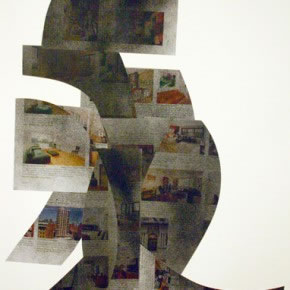 Alberto Borea | Real Estate East side | 2011 | Collage sobre papel con spray | 60 x 47 cm