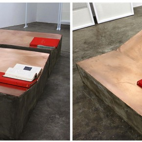 Cats Yawn | 2013 | Concreto, madera, láminas de cobre y libros encontrados | 100 x 100 x 30 cm