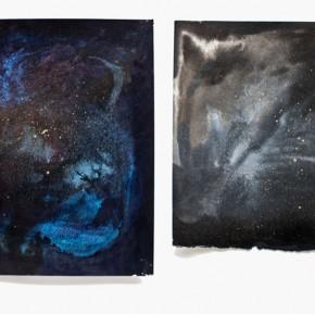 Cosmos (Díptico) | Tinta china y aerosol sobre papel de algodón | 18 x 19 y 15 x 19 cm