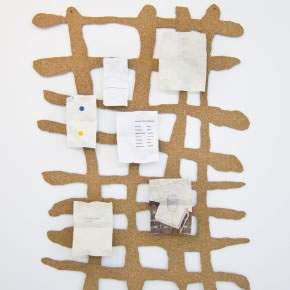 Juan Pablo Garza | S/T (the way and the content) | 2012 | Corcho y papel | 80 x 53 cm