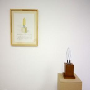 Memoria no develada | 2012 | Acuarela sobre papel | 40 x 30 cm | Maqueta de cerámica, MDF y tela | 33 x 12 x 12 cm