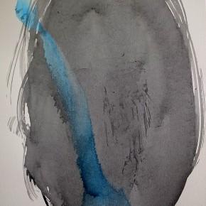 3. Sin título. Negro y azul | 2012 | Tinta acrílica sobre papel fabriano (220gr) | 48 x 32 cm