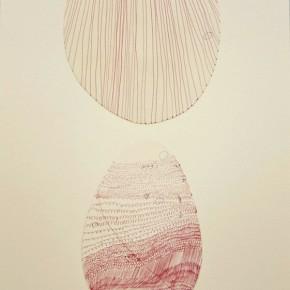 33. Líneas rojas en óvalos blancos | 2012 | Tinta sobre papel fabriano (220gr) | 48 x 32 cm