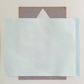 37. Verde, blanco, gris | 2012 | Cartón gris, papel bond y cartulinas sobre papel fabriano (220 gr) | 48 x 32 cm