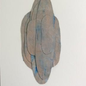 38. Círculos azules | 2012 | Fieltro teñido con azul de metileno y acrílico sobre papel fabriano (220gr) | 48 x 32 cm