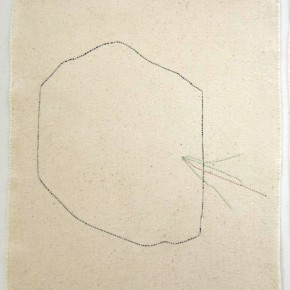 41. Formas. Azul y rojo | 2012 | Hilos entretejidos sobre lino | 29, 1 x 30, 9 cm