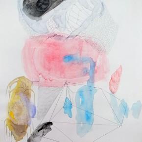 8. Polígono y manchas | 2012 | Grafito, creyones, acuarela y acrílico sobre papel torreón | 28 x 21, 5 cm
