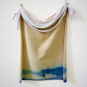Vista de sala | 20. Teñido y cortes | 2012 | Algodón teñido con azul de metileno | 36 x 30 x 3 cm