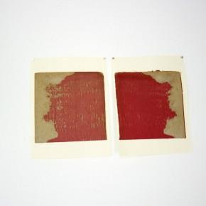 Vista de sala | 15. Sin título. Mancha roja | 2012 | Tela sobre cartón | 27,9 x 21,6 cm c/u