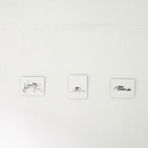 América Mejía | Jóvito Villalva | 2013 | Tinta negra sobre sulfato | 5 piezas de 23 x 19 cm c/u