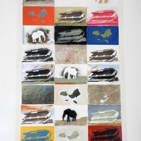 Carlos Susana | Elefante Blanco | 2013 | Mixta sobre BVAC | 2 murales. 127 x 76 cm / 35 x 125 cm