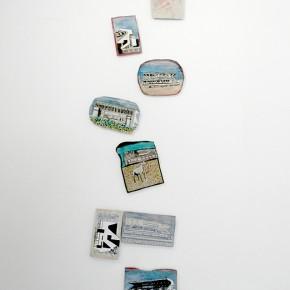 Luis Mata | Poética vertical del Colossus | 2103 | Oleo y creyón sobre tela | 8 piezas de pequeño formato