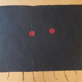Yai the mamo titiha (Ojo de fantasma de noche) | 2012 | Serie de 3 | Papel hecho a mano, pulpa pigmentada y fibra natural | 59 x 44,5cm