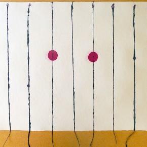 Yai the mamo haru (Ojo de fantasma de día) | 2012 | Serie de 3 | Papel hecho a mano, pulpa pigmentada y fibra natural | 59 x 44,5cm