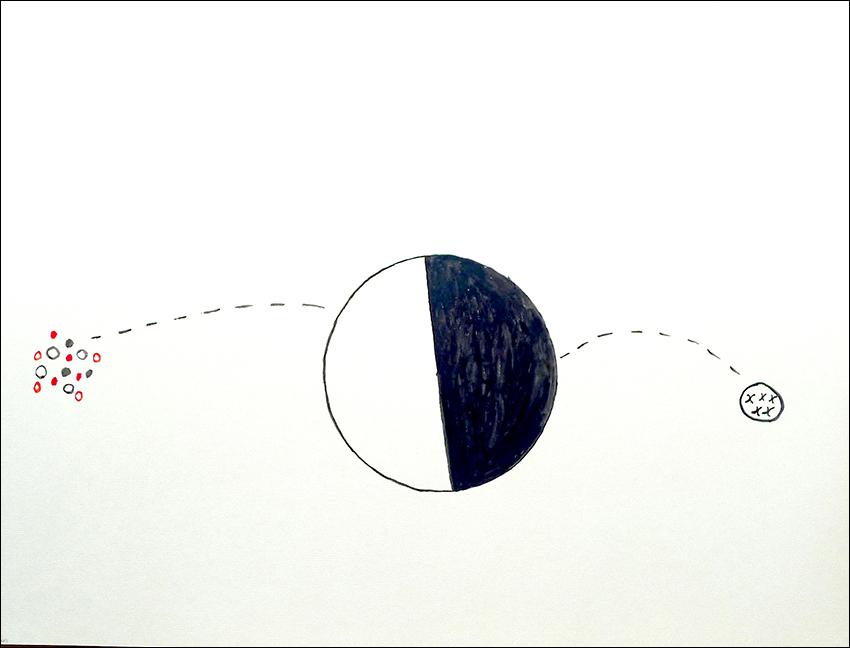 Irani Thepemi Watherema, Tokumu, to kurayoma (Tigre come a la gente, el resto escapa) 2013   Dibujo en acuarela sobre papel   49, 5 x 66,5 cm