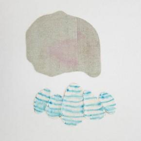 Sin titulo Verde y azul | 2012 | Textil, tinta acrílica y pap mart | 25,5x13 (inferior) 20x 23 (superior)