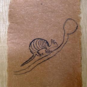 Opo Ano maro (Cachicamo) | 28 x 21 cm | Acrílico sobre papel artesanal realizado con la fibra Ara Puri Usi