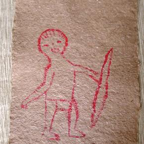 Wâro halo wahi (Yanomami) | 28 x 21 | Acrílico sobre papel artesanal realizado con la fibra Ara Puri Usi