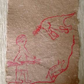 Tepe hima wâro (Hombre-oso Hormiguero-perro) | 28 x 21 cm | Acrílico sobre papel artesanal realizado con la fibra Ara Puri Usi