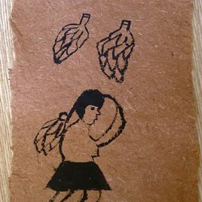 Kuratha Sue (Mujer y cambures) | 28 x 21 cm | Acrílico sobre papel artesanal realizado con la fibra Ara Puri Usi