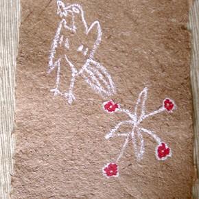 Hore-hore kirithami (Flores y pájaro pequeño) | 28 x 21 cm | Acrílico sobre papel artesanal realizado con la fibra Ara Puri Usi