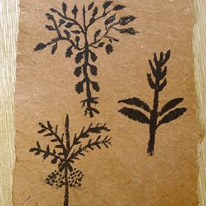 Hii manakashi (Conjunto de plantas) | 28 x 21 cm | Acrílico sobre papel artesanal realizado con la fibra Ara Puri Usi