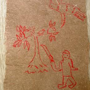 Wâro Shuririami (Hombre con machete y pájaro carpintero) | 28 x 21 cm | Acrílico sobre papel artesanal realizado con la fibra Ara Puri Usi