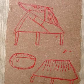 Yahi Sahpono (Comunidad) | 28 x 21 cm | Acrílico sobre papel artesanal realizado con la fibra Ara Puri Usi