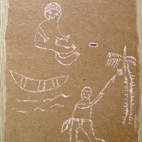 Kanawa Roa Rekai (Canoa) | 28 x 21 cm | Acrílico sobre papel artesanal realizado con la fibra Ara Puri Usi