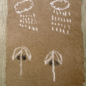 Maa Rasha (Lluvia y pijiguaos) | 28 x 21 cm | Acrílico sobre papel artesanal realizado con la fibra Ara Puri Usi