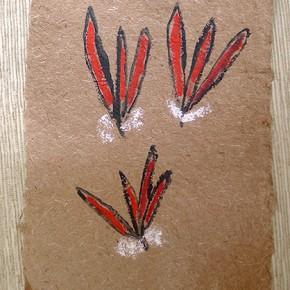 Ara Shinape (Adorno de plumas de guacamaya) | 28 x 21 cm | Acrílico sobre papel artesanal realizado con la fibra Ara Puri Usi