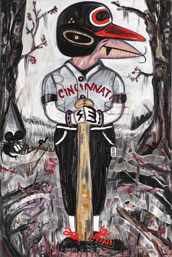 Joe Morgan | 2005 | Óleo, senok y loción Tom Ford sobre lienzo | 80 x 130 cm / 31.4 x 51.1 pulgadas