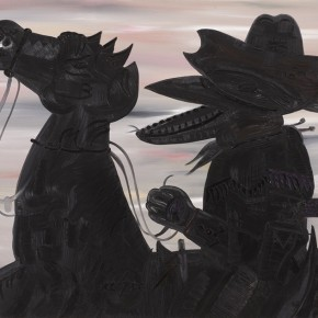 The Lone Ranger | 2005 | Óleo, polvo de diamantes, ecoline, bolígrafo, pencilgold, silversenok, senok y escarcha sobre papel | 140 x 160 cm / 55.1 x 62.9 pulgadas