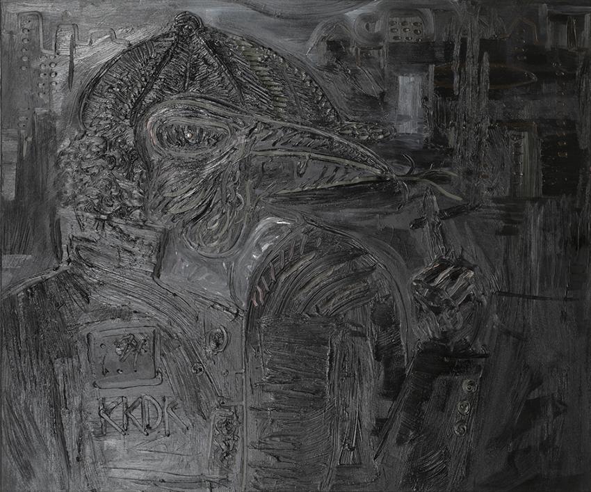 Sir Brian Johnson AC/DC | 2005 | Óleo, senok, ecoline y agua de jungla sobre papel | 80 x 130 cm / 31.4 x 51.1 pulgadas