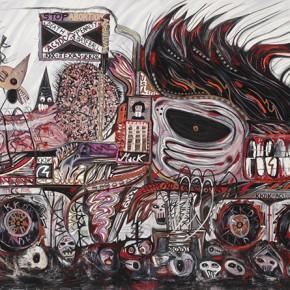 Sir Cucarachon NBF 5680-KKDK-NAVISTAR | 2004 | Óleo, senok y loción Tom Ford sobre lienzo | 200 x 370 cm / 78.7 x 145.6 pulgadas