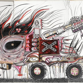 Sir Barry AUSTIN, TX 18666-CROWES-MACK | 2004 | Óleo, polvo de diamantes, ecoline, bolígrafo, pencilgold, silversenok, senok y escarcha sobre papel | 156 x 310 cm/ 61.4 x 122.4 pulgadas