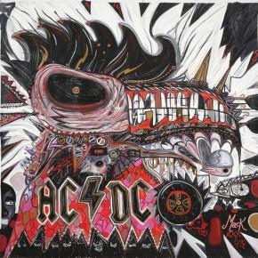 AC/DC San Antonio, TX 45300-AUSSIE-MACK | 2004 | Óleo y senok sobre lienzo | 210 x 210 cm/ 82.6 x 82.6 pulgadas