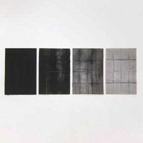 Luis Romero Monocromía (Negro) | Políptico | 2013 | Monotipo sobre papel | 37.5 x 56 cm c/u