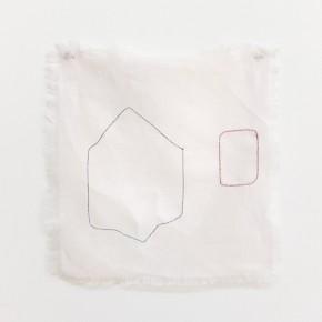 Fabián Salazar | Sin título. Rojo y azul | 2012 | Hilo mercerizado azul e hilo metálico rojo entretejidos en lino rosado