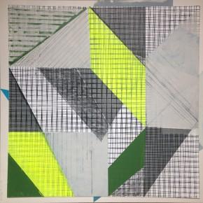 1. Morellet test drive | 2013 | Collage. Acrílico y gouache sobre tinta serigráfica | 62 x 62 cm (75 x 75 cm con marco)