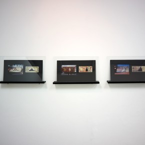 Vista en sala | Serie: Calados capitales en lugares de paso # 2 | Fotografía sobre papel de moneda y billetes | 25 x 45 cm