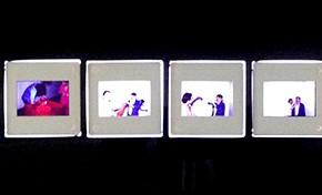 Diego Barboza | Registro acción poema gestual | Sala Mendoza, 1981 | 10 diapositivas (5 x 5 cm c/u)