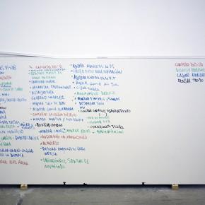 18. Leyenda de tareas | 2013 | Obra proceso / Registro / Objeto: Pizarra acrílica, lista de procesos | 97 x 180 cm